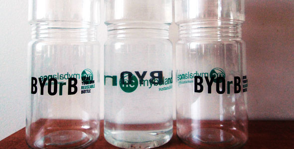 Reusable water bottles from the Bring Your Own Bottle campaign