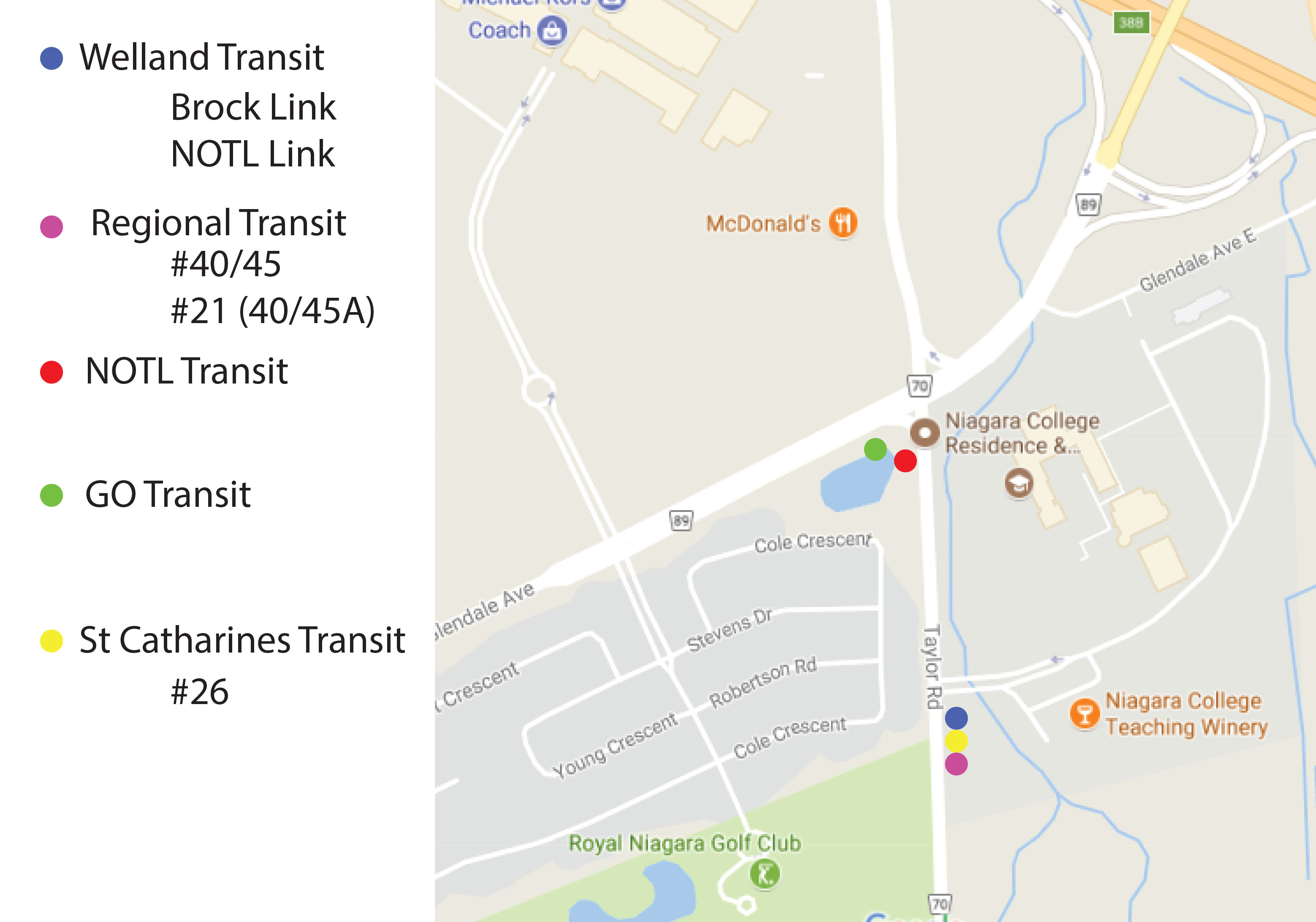 A map displaying modified transit stop locations for the NOTL campus